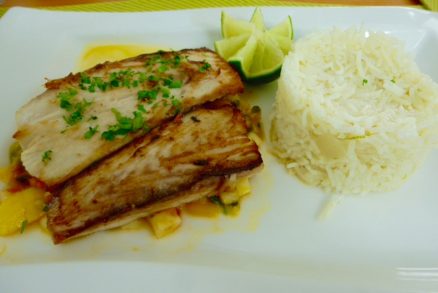 Easy to cook at home: Pan-seared fish, tropical salsa, lime-scented rice
